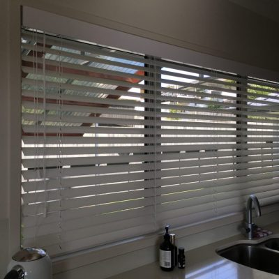 50 mm faux timber blinds in Castor Bay