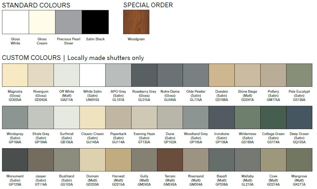 Aluminium shutters colours