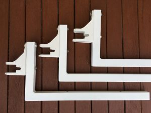 Custom made powder coated soffit awning brackets
