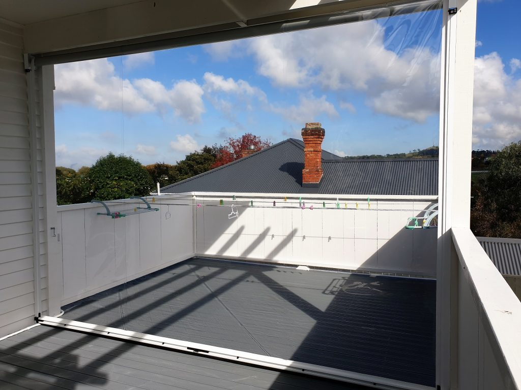 Clear PVC Ziptrak Blinds Auckland