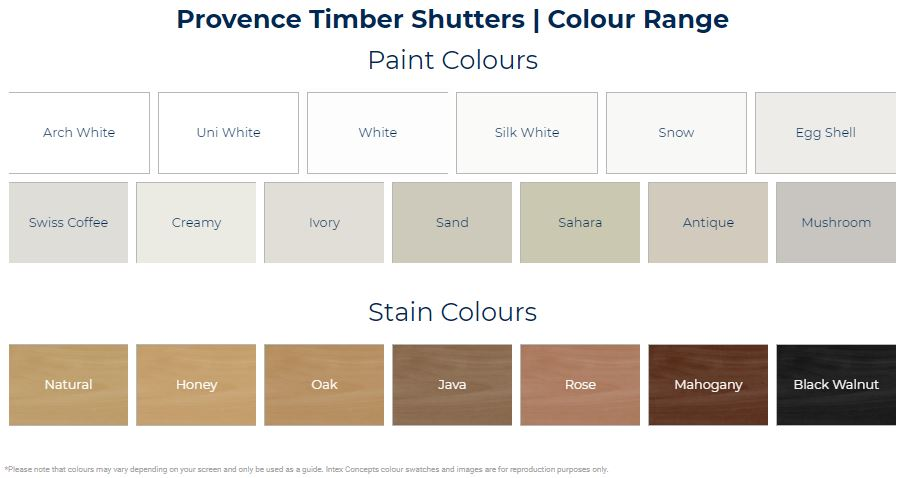 Timber shutters colours