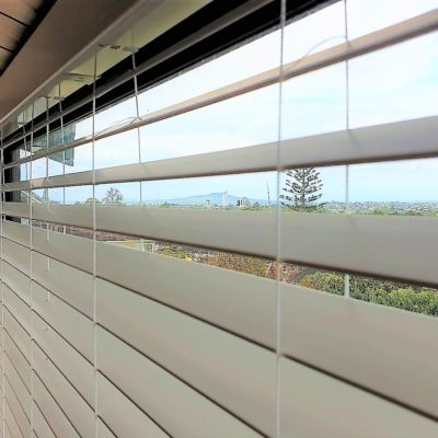 Faux wood venetian blinds in Northcote