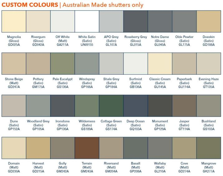 Australian made shutters colours
