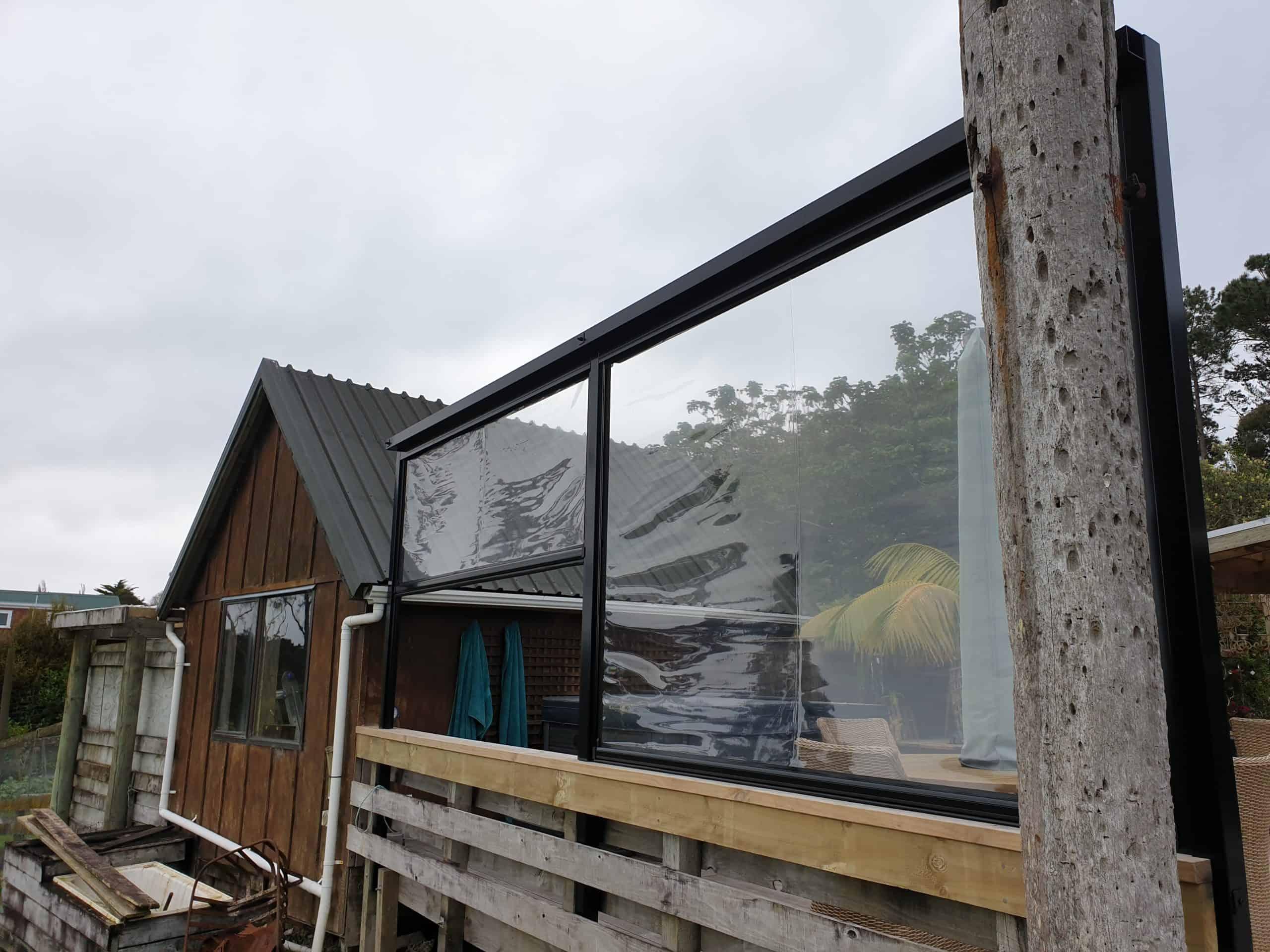 Clear PVC Ziptrak blinds Whangaparaoa