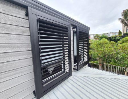 Bermuda 2000 shutters in a build-out frame